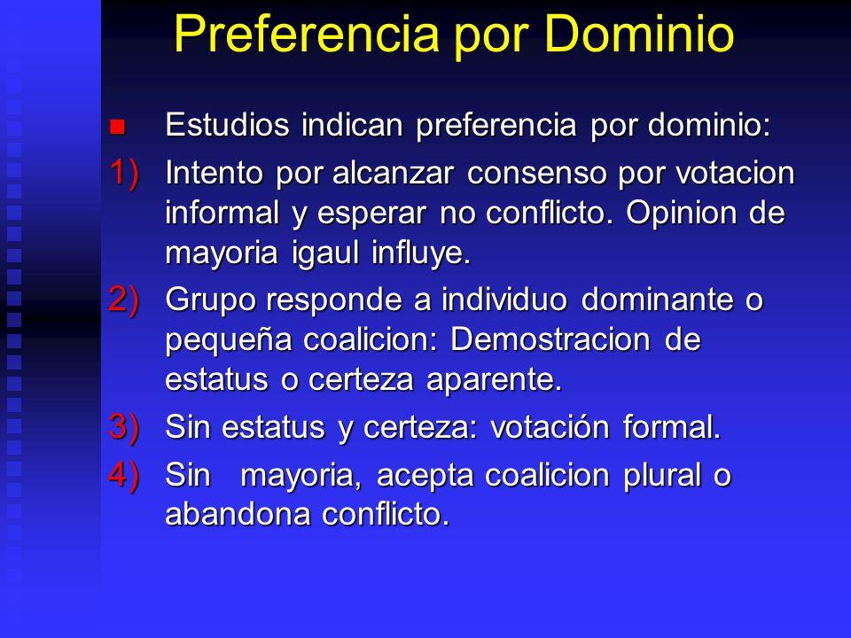 Preferencia por Dominio Estudios indican preferencia por dominio: Estudios indican preferencia por dominio: 1) Intento por alcanzar consenso por votacion informal y esperar no conflicto.