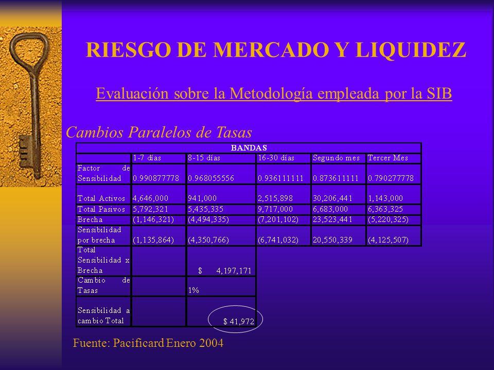 RIESGO DE MERCADO Y LIQUIDEZ Cambios Paralelos de Tasas Fuente: Pacificard Enero 2004 Evaluación sobre la Metodología empleada por la SIB