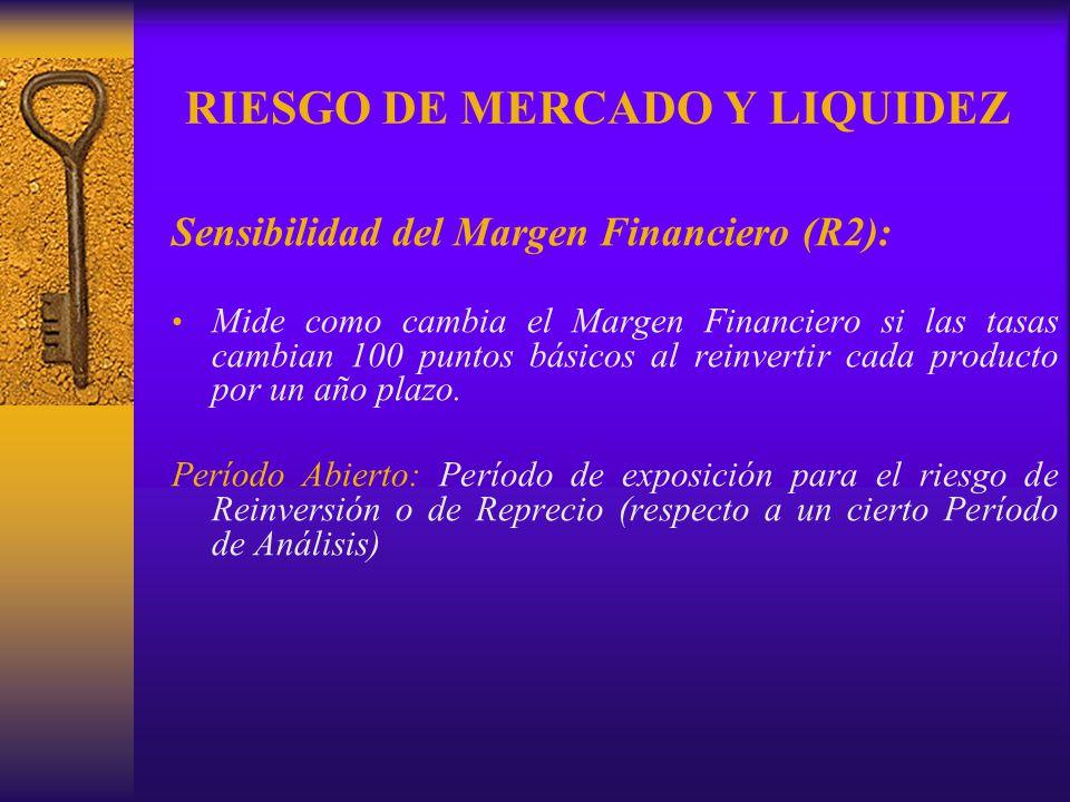 RIESGO DE MERCADO Y LIQUIDEZ Sensibilidad del Margen Financiero (R2): Mide como cambia el Margen Financiero si las tasas cambian 100 puntos básicos al