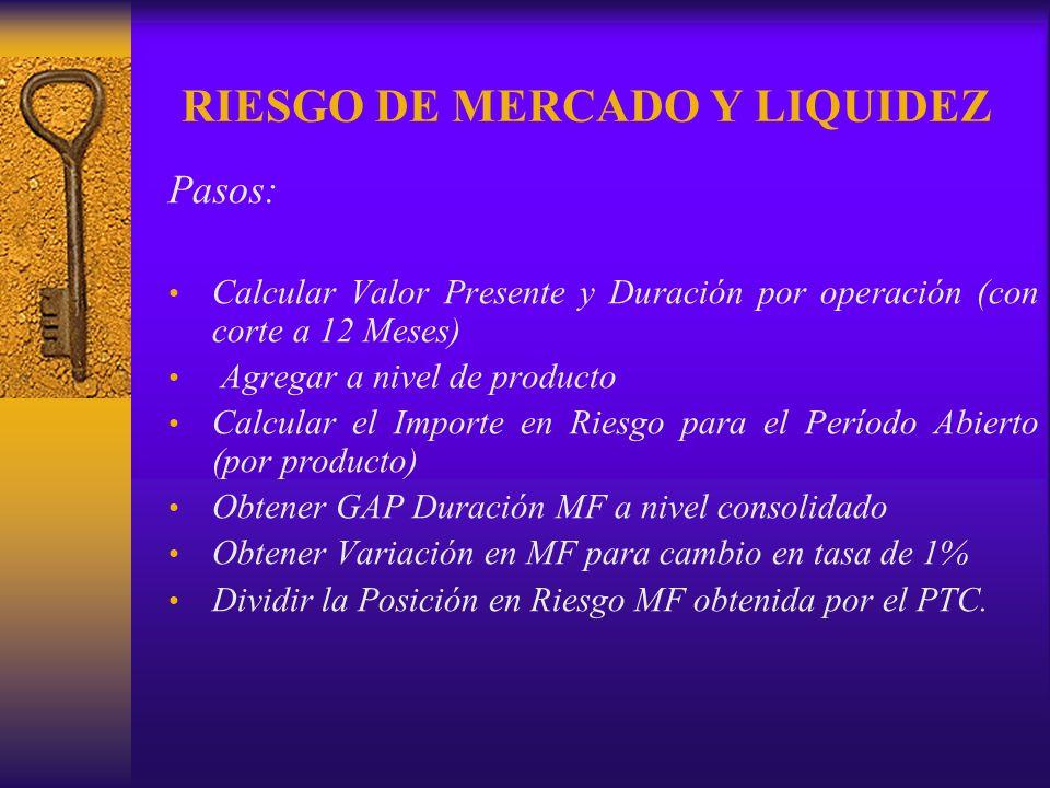 RIESGO DE MERCADO Y LIQUIDEZ Pasos: Calcular Valor Presente y Duración por operación (con corte a 12 Meses) Agregar a nivel de producto Calcular el Im