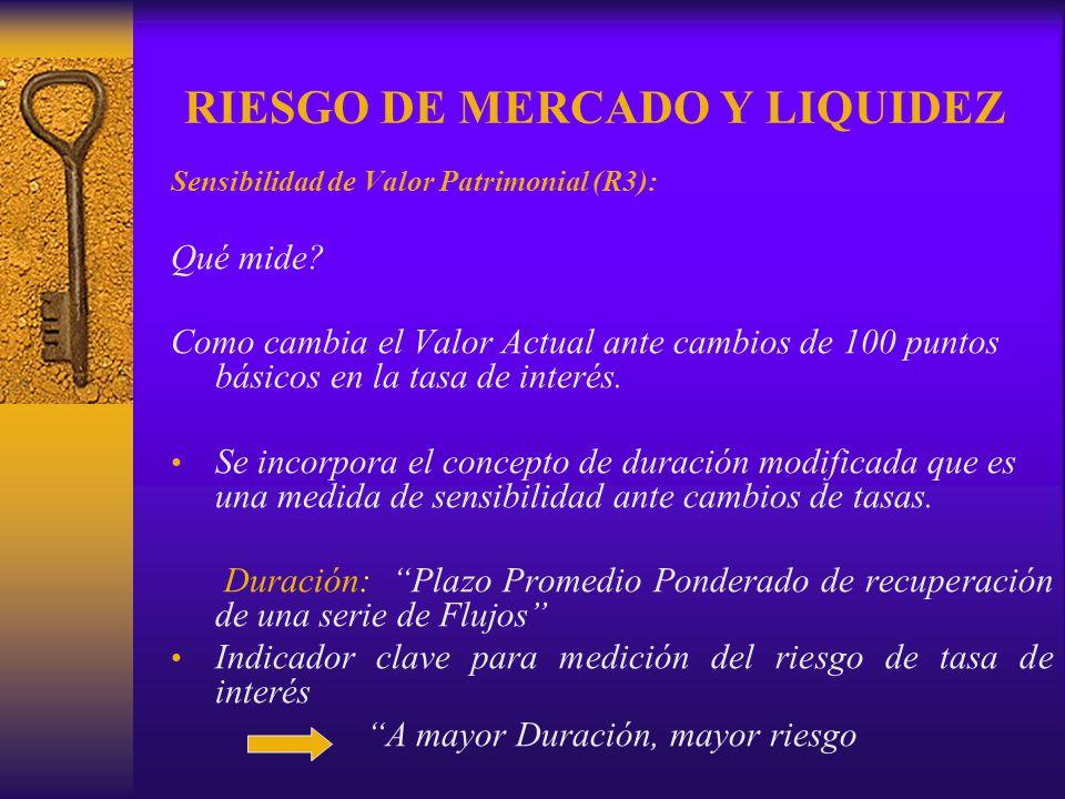 RIESGO DE MERCADO Y LIQUIDEZ Sensibilidad de Valor Patrimonial (R3): Qué mide? Como cambia el Valor Actual ante cambios de 100 puntos básicos en la ta