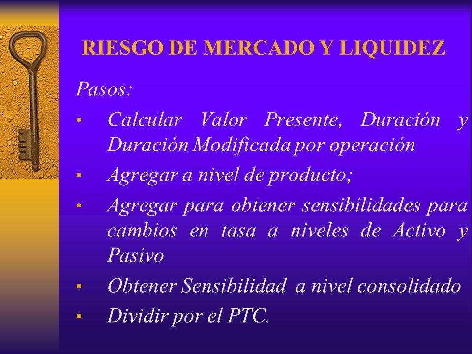 RIESGO DE MERCADO Y LIQUIDEZ Pasos: Calcular Valor Presente, Duración y Duración Modificada por operación Agregar a nivel de producto; Agregar para ob