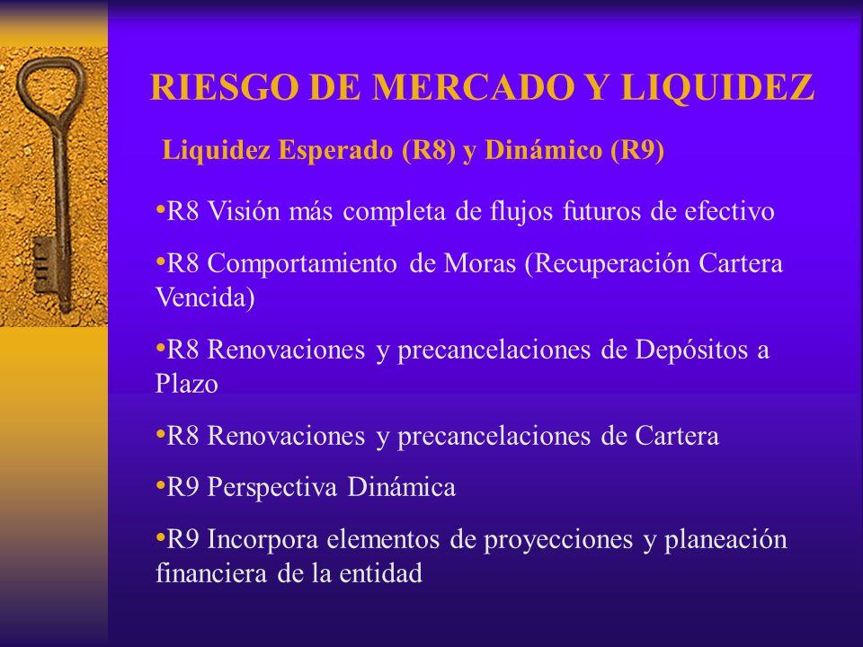RIESGO DE MERCADO Y LIQUIDEZ Liquidez Esperado (R8) y Dinámico (R9) R8 Visión más completa de flujos futuros de efectivo R8 Comportamiento de Moras (R