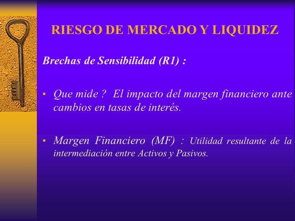 RIESGO DE MERCADO Y LIQUIDEZ Brechas de Sensibilidad (R1) : Que mide ? El impacto del margen financiero ante cambios en tasas de interés. Margen Finan