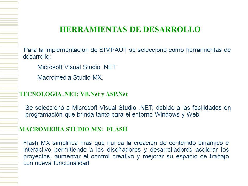 Para la implementación de SIMPAUT se seleccionó como herramientas de desarrollo: Microsoft Visual Studio.NET Macromedia Studio MX.