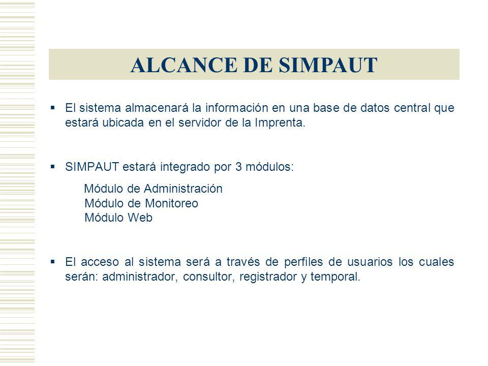 ALCANCE DE SIMPAUT El sistema almacenará la información en una base de datos central que estará ubicada en el servidor de la Imprenta.