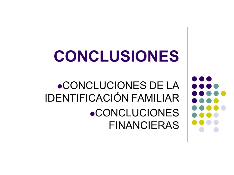 CONCLUSIONES CONCLUCIONES DE LA IDENTIFICACIÓN FAMILIAR CONCLUCIONES FINANCIERAS