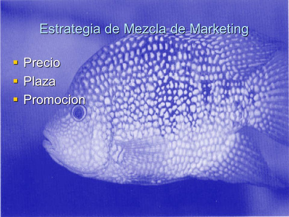 Precio Precio Plaza Plaza Promocion Promocion Estrategia de Mezcla de Marketing