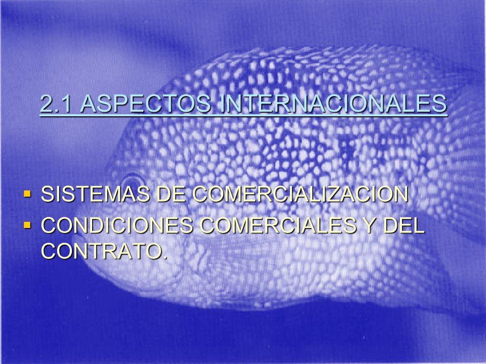 2.1 ASPECTOS INTERNACIONALES SISTEMAS DE COMERCIALIZACION SISTEMAS DE COMERCIALIZACION CONDICIONES COMERCIALES Y DEL CONTRATO.