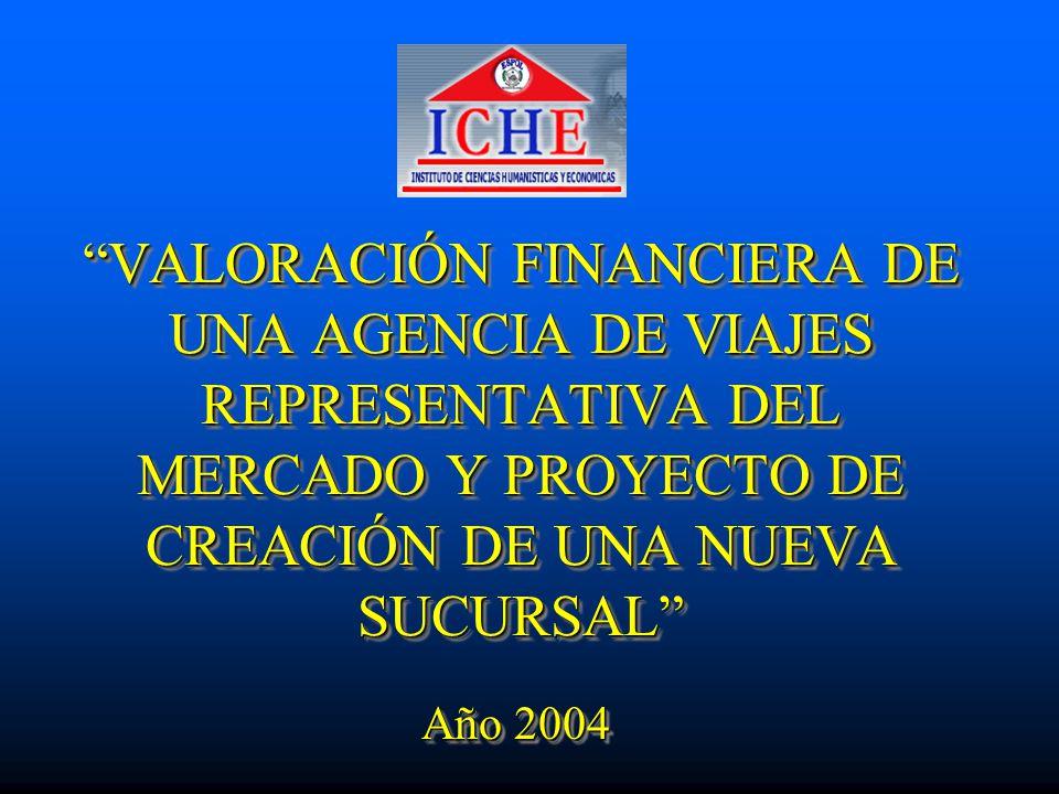 VALORACIÓN FINANCIERA DE UNA AGENCIA DE VIAJES REPRESENTATIVA DEL MERCADO Y PROYECTO DE CREACIÓN DE UNA NUEVA SUCURSAL Año 2004