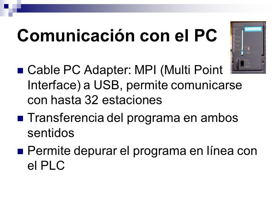 Comunicación con el PC Cable PC Adapter: MPI (Multi Point Interface) a USB, permite comunicarse con hasta 32 estaciones Transferencia del programa en
