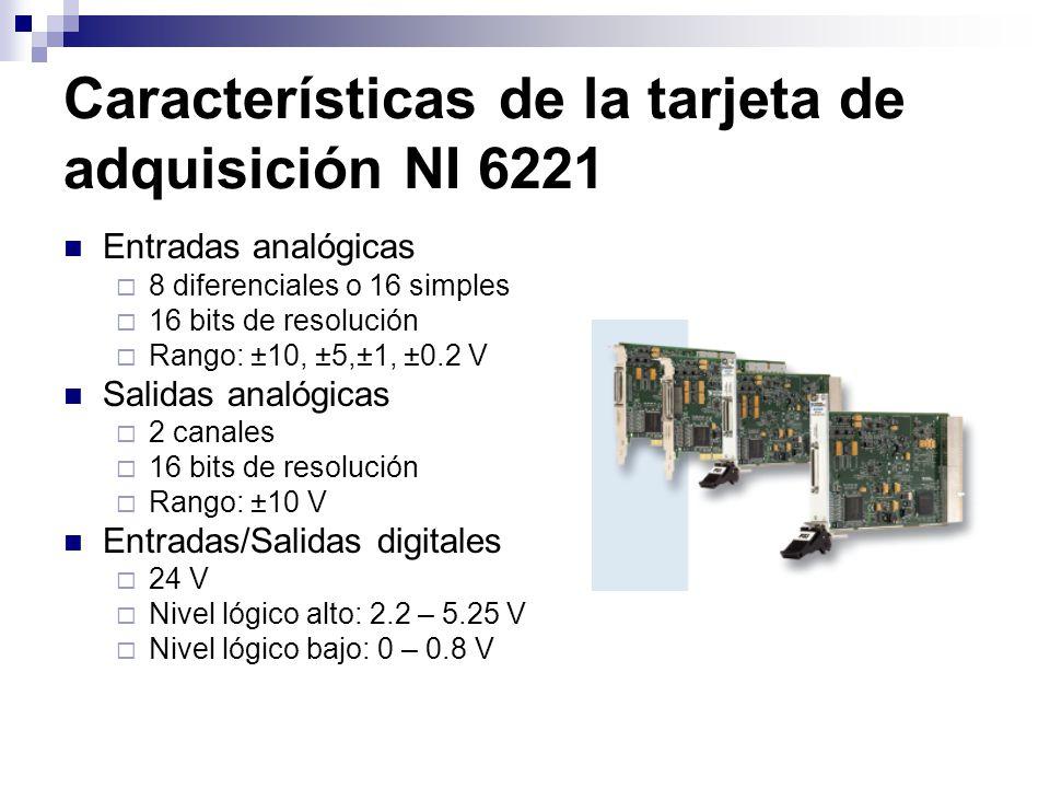 Características de la tarjeta de adquisición NI 6221 Entradas analógicas 8 diferenciales o 16 simples 16 bits de resolución Rango: ±10, ±5,±1, ±0.2 V