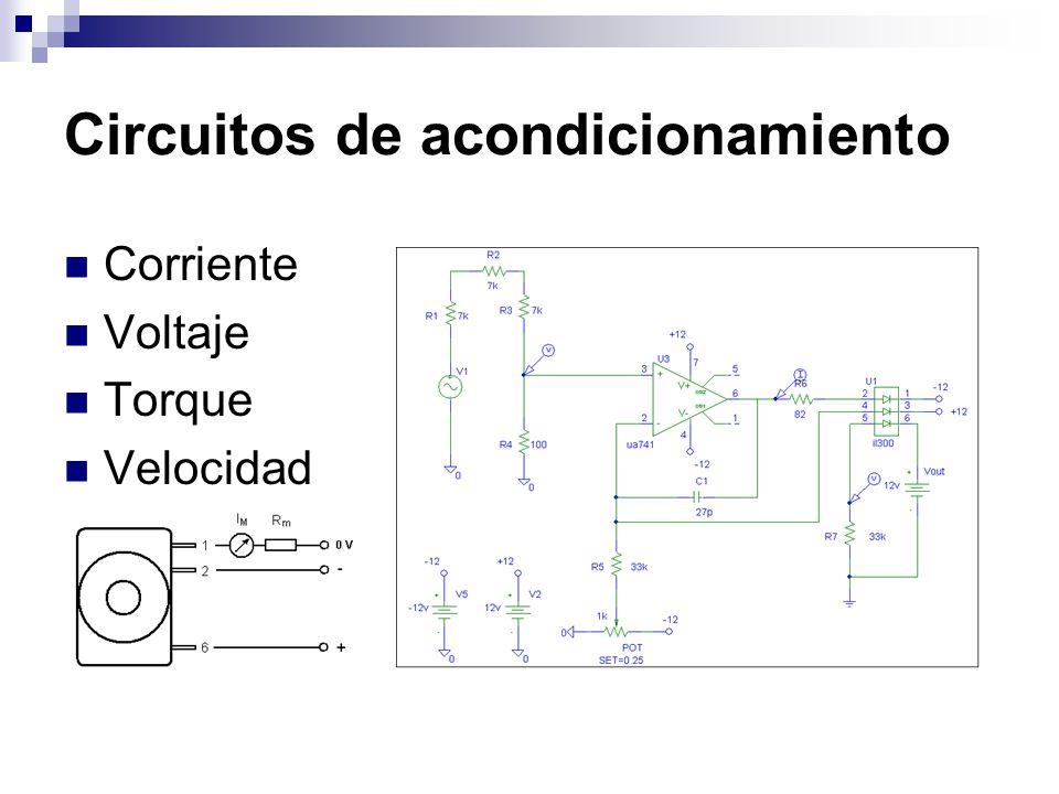 Circuitos de acondicionamiento Corriente Voltaje Torque Velocidad