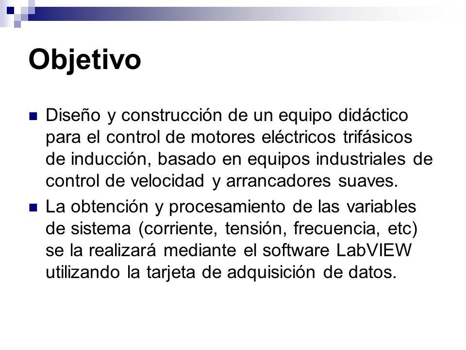 Objetivo Diseño y construcción de un equipo didáctico para el control de motores eléctricos trifásicos de inducción, basado en equipos industriales de