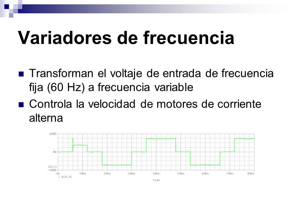 Variadores de frecuencia Transforman el voltaje de entrada de frecuencia fija (60 Hz) a frecuencia variable Controla la velocidad de motores de corrie