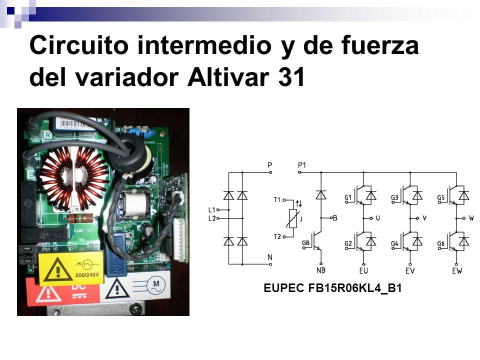 Circuito intermedio y de fuerza del variador Altivar 31 EUPEC FB15R06KL4_B1