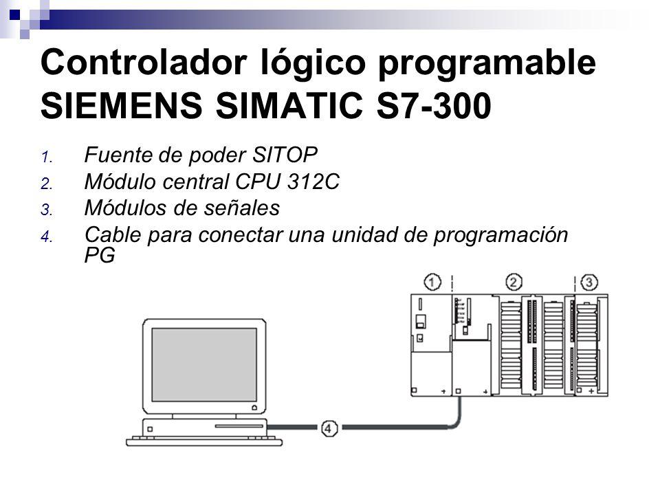 Controlador lógico programable SIEMENS SIMATIC S7-300 1. Fuente de poder SITOP 2. Módulo central CPU 312C 3. Módulos de señales 4. Cable para conectar
