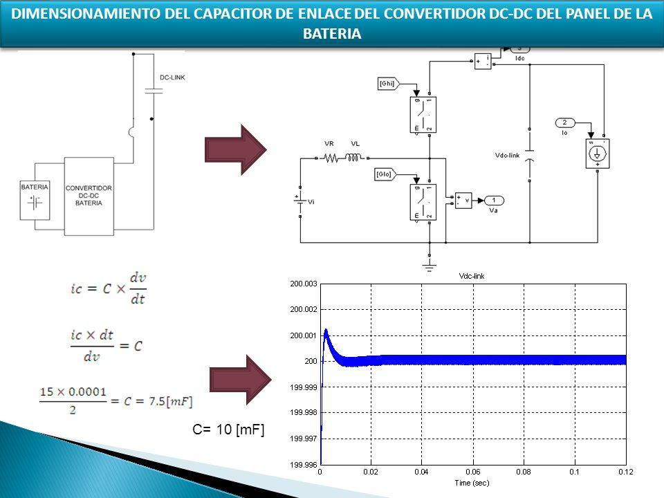 DIMENSIONAMIENTO DEL CAPACITOR DE ENLACE DEL CONVERTIDOR DC-DC DEL PANEL DE LA BATERIA C= 10 [mF]