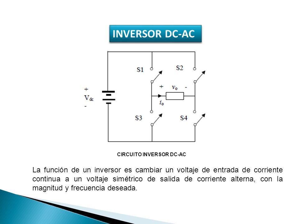 INVERSOR DC-AC CIRCUITO INVERSOR DC-AC La función de un inversor es cambiar un voltaje de entrada de corriente continua a un voltaje simétrico de sali
