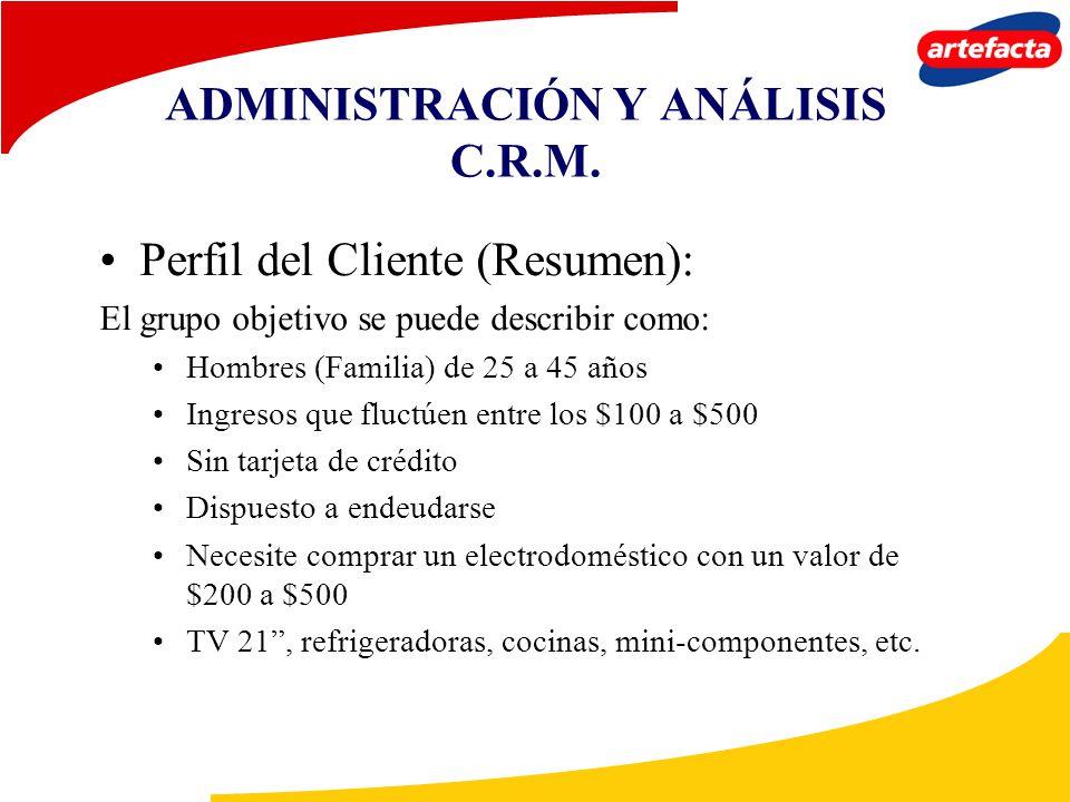 ADMINISTRACIÓN Y ANÁLISIS C.R.M. Perfil del Cliente (Resumen): El grupo objetivo se puede describir como: Hombres (Familia) de 25 a 45 años Ingresos q