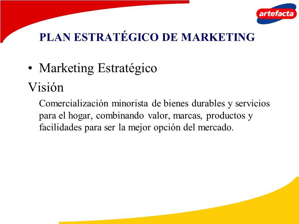 PLAN ESTRATÉGICO DE MARKETING Marketing Estratégico Visión Comercialización minorista de bienes durables y servicios para el hogar, combinando valor,