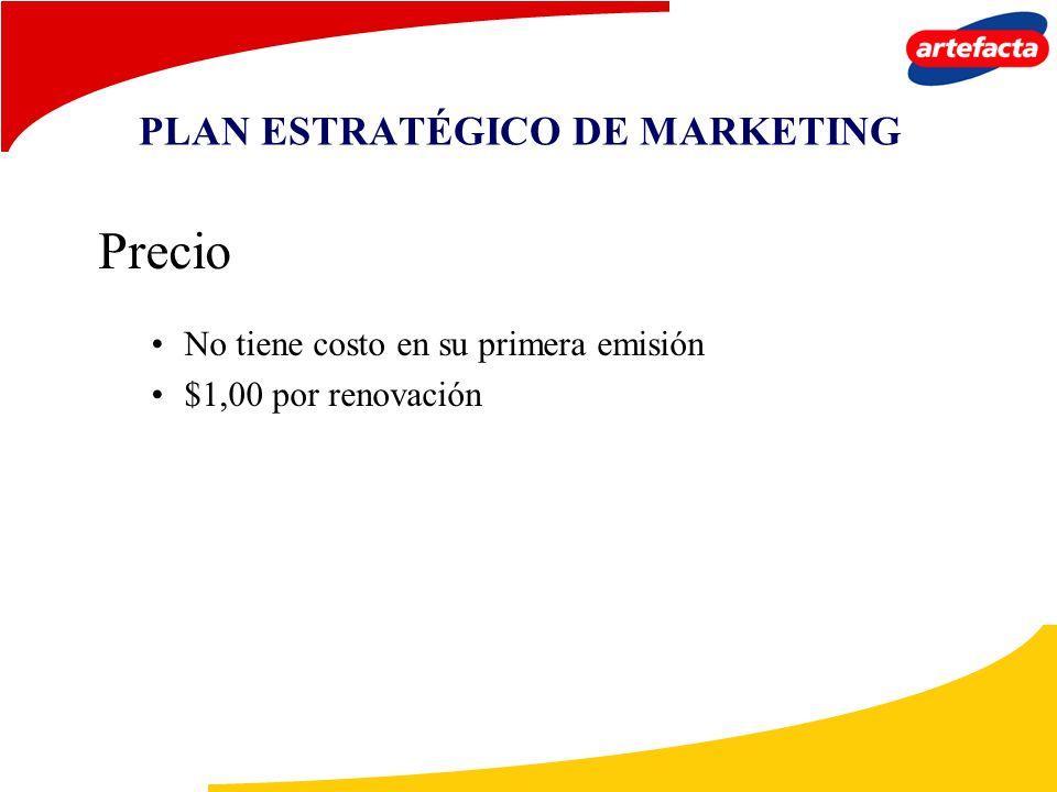 PLAN ESTRATÉGICO DE MARKETING Precio No tiene costo en su primera emisión $1,00 por renovación
