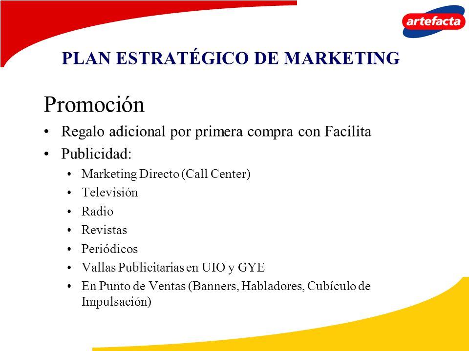 PLAN ESTRATÉGICO DE MARKETING Promoción Regalo adicional por primera compra con Facilita Publicidad: Marketing Directo (Call Center) Televisión Radio