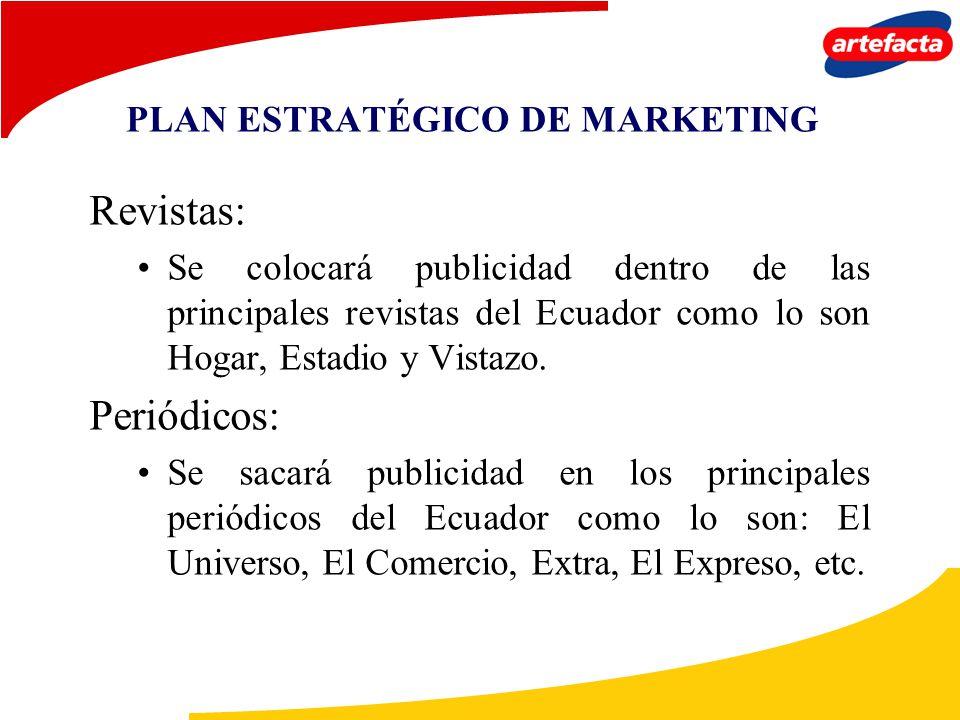 PLAN ESTRATÉGICO DE MARKETING Revistas: Se colocará publicidad dentro de las principales revistas del Ecuador como lo son Hogar, Estadio y Vistazo. Pe