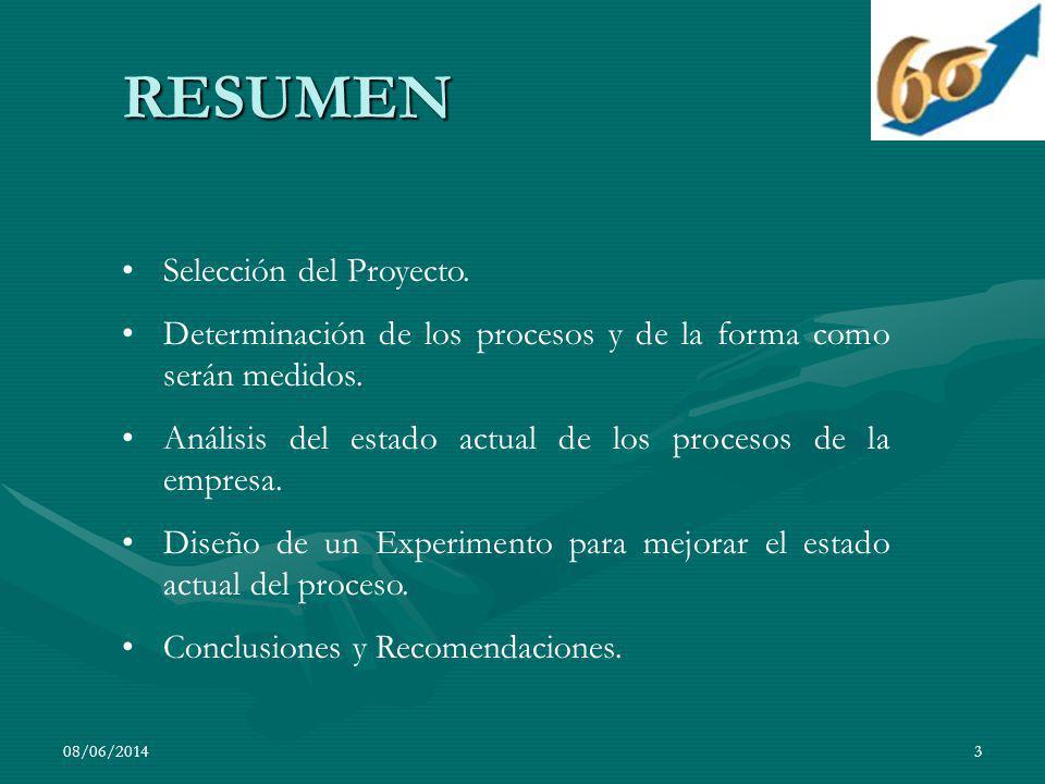 08/06/20143 RESUMEN Selección del Proyecto. Determinación de los procesos y de la forma como serán medidos. Análisis del estado actual de los procesos