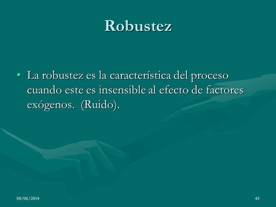 08/06/201443 Robustez La robustez es la característica del proceso cuando este es insensible al efecto de factores exógenos. (Ruido).La robustez es la