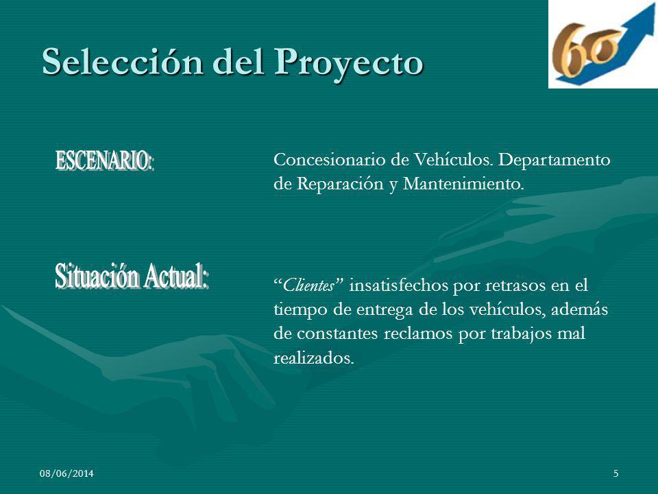 5 Selección del Proyecto Concesionario de Vehículos. Departamento de Reparación y Mantenimiento. Clientes insatisfechos por retrasos en el tiempo de e