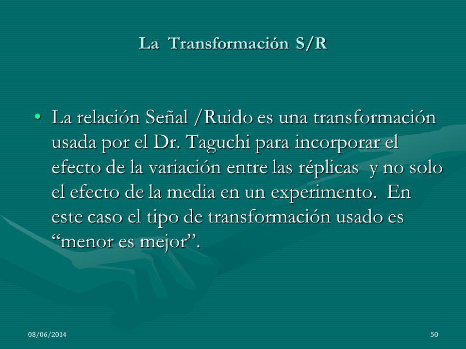 La Transformación S/R La relación Señal /Ruido es una transformación usada por el Dr. Taguchi para incorporar el efecto de la variación entre las répl