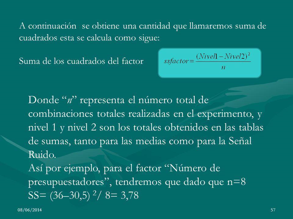 08/06/201457 A continuación se obtiene una cantidad que llamaremos suma de cuadrados esta se calcula como sigue: Suma de los cuadrados del factor Dond