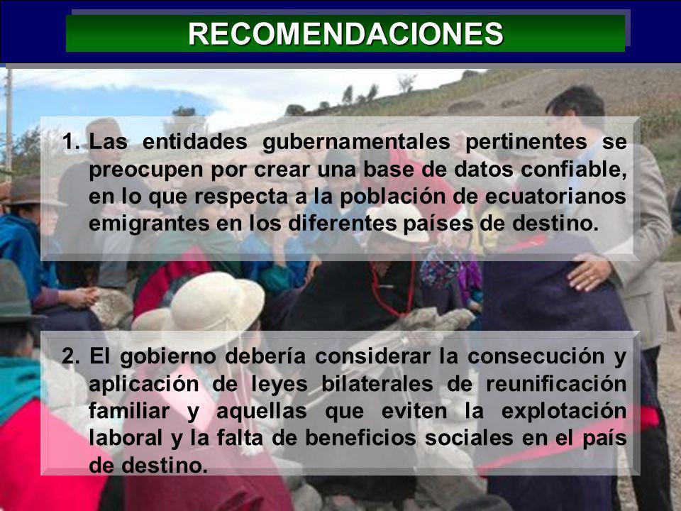 44 RECOMENDACIONESRECOMENDACIONES 2. El gobierno debería considerar la consecución y aplicación de leyes bilaterales de reunificación familiar y aquel