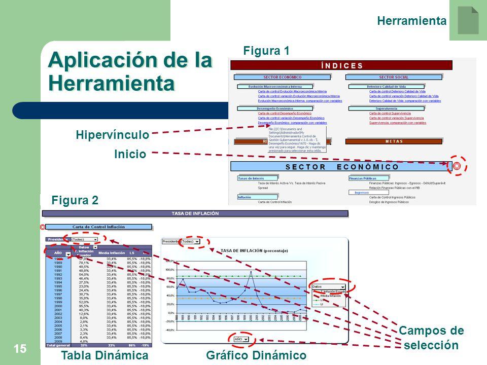 15 Aplicación de la Herramienta Hipervínculo Inicio Campos de selección Tabla DinámicaGráfico Dinámico Figura 2 Figura 1 Herramienta