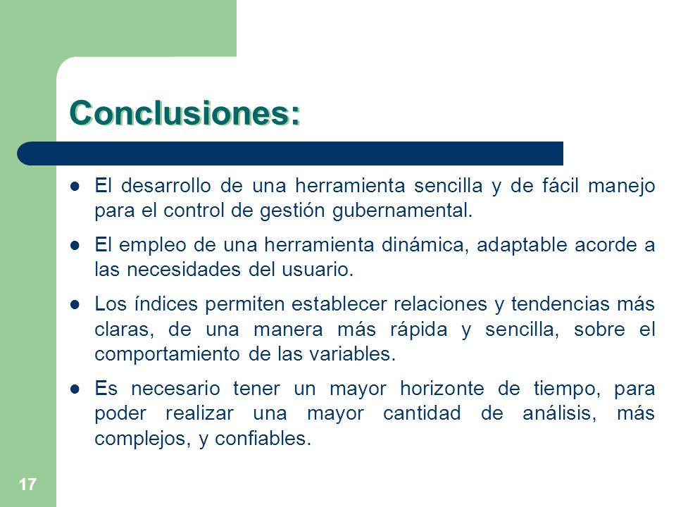 17 Conclusiones: El desarrollo de una herramienta sencilla y de fácil manejo para el control de gestión gubernamental. El empleo de una herramienta di
