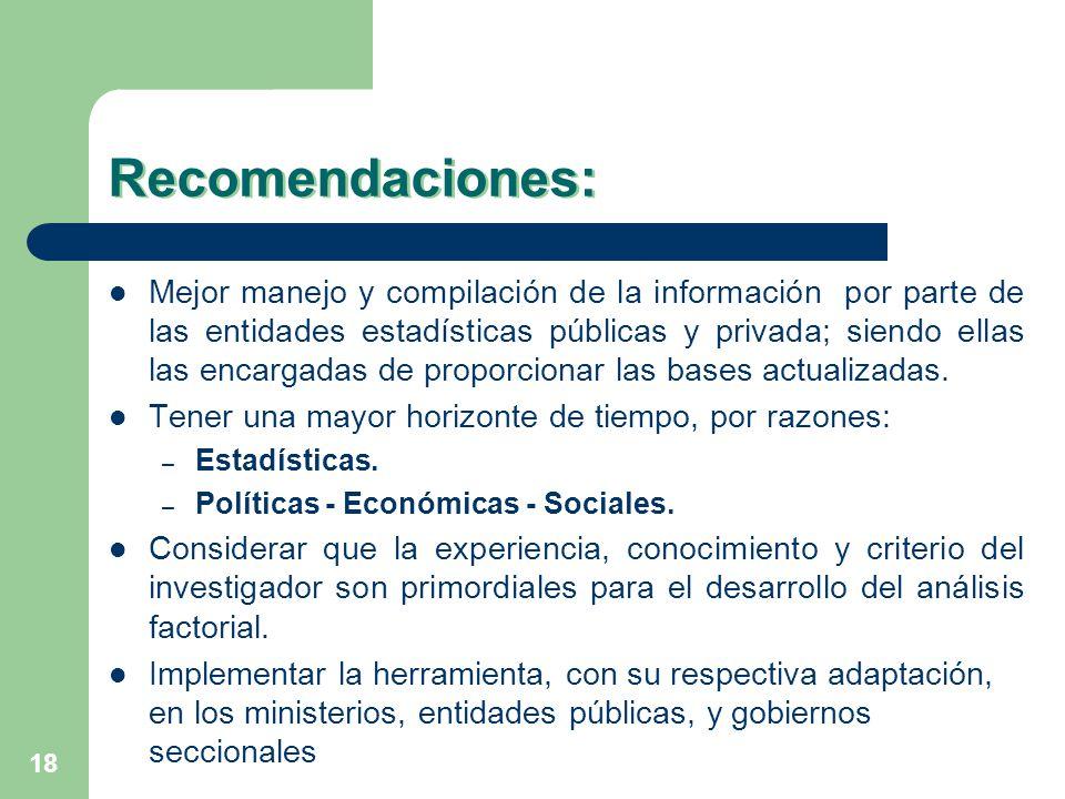 18 Recomendaciones: Mejor manejo y compilación de la información por parte de las entidades estadísticas públicas y privada; siendo ellas las encargad