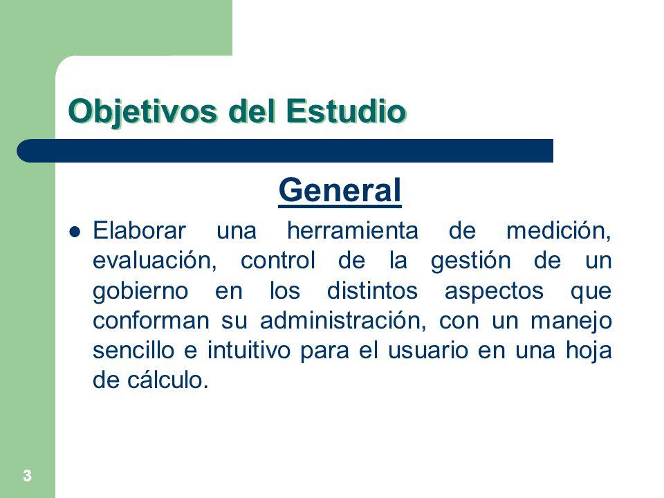 3 Objetivos del Estudio General Elaborar una herramienta de medición, evaluación, control de la gestión de un gobierno en los distintos aspectos que c