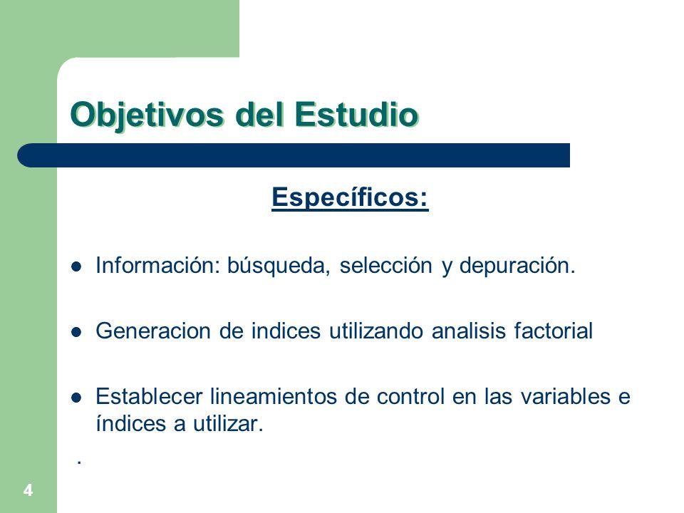 4 Objetivos del Estudio Específicos: Información: búsqueda, selección y depuración. Generacion de indices utilizando analisis factorial Establecer lin