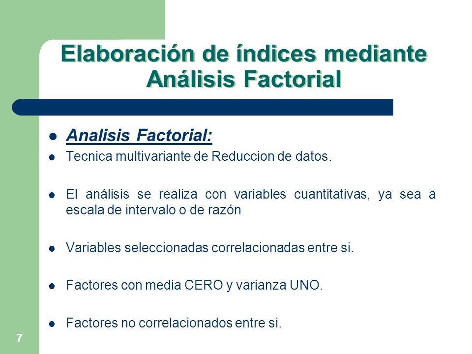7 Elaboración de índices mediante Análisis Factorial Analisis Factorial: Tecnica multivariante de Reduccion de datos. El análisis se realiza con varia