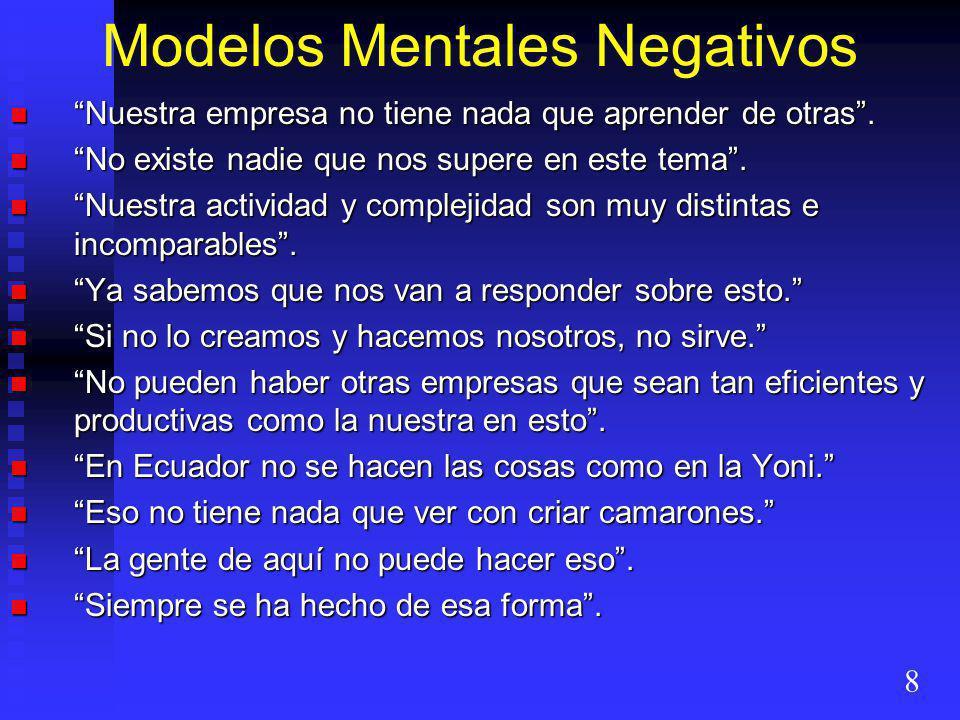 Modelos Mentales Negativos Nuestra empresa no tiene nada que aprender de otras. Nuestra empresa no tiene nada que aprender de otras. No existe nadie q