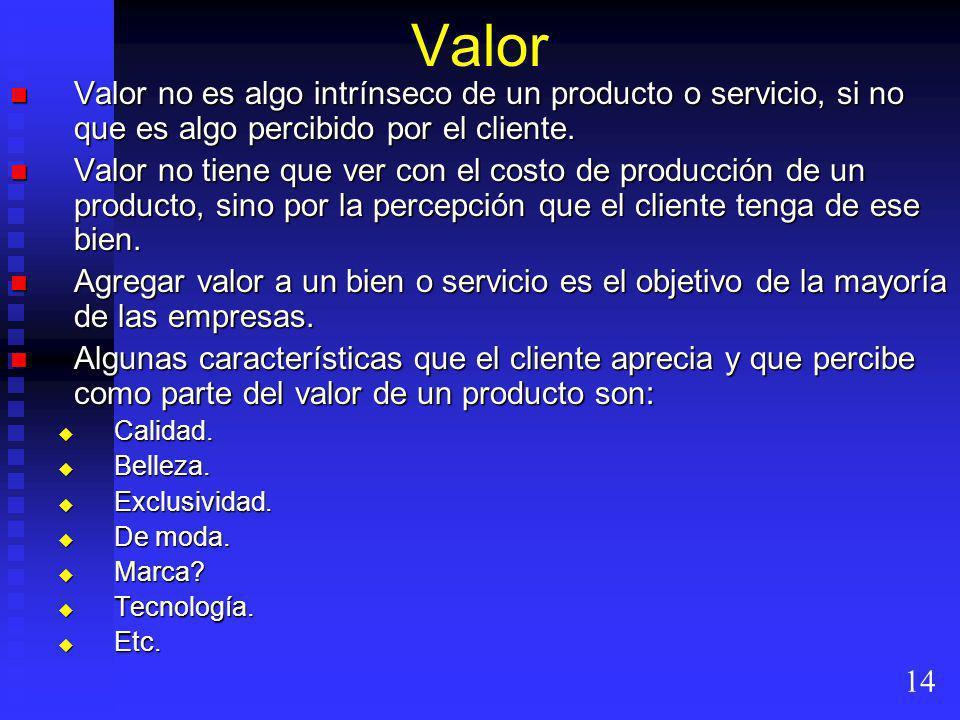 Valor Valor no es algo intrínseco de un producto o servicio, si no que es algo percibido por el cliente. Valor no es algo intrínseco de un producto o