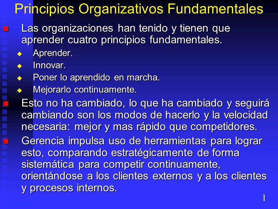 Principios Organizativos Fundamentales Las organizaciones han tenido y tienen que aprender cuatro principios fundamentales. Las organizaciones han ten