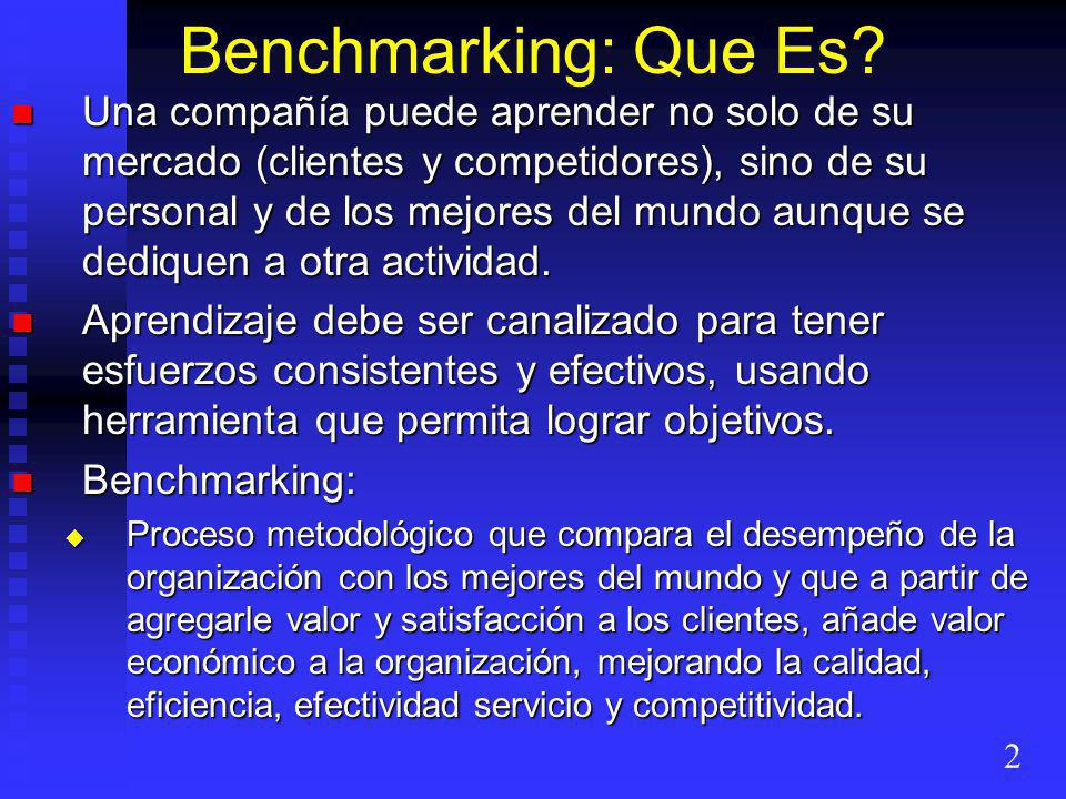 Benchmarking: Que Es.
