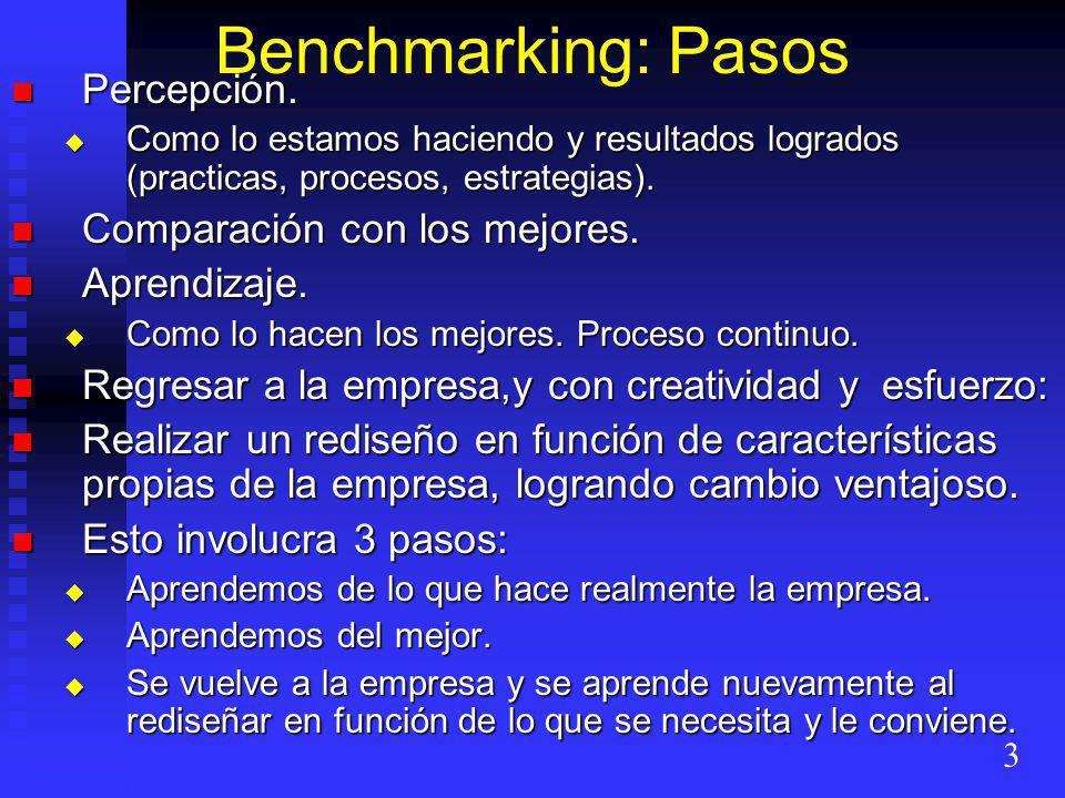 Benchmarking: Pasos Percepción. Percepción. Como lo estamos haciendo y resultados logrados (practicas, procesos, estrategias). Como lo estamos haciend