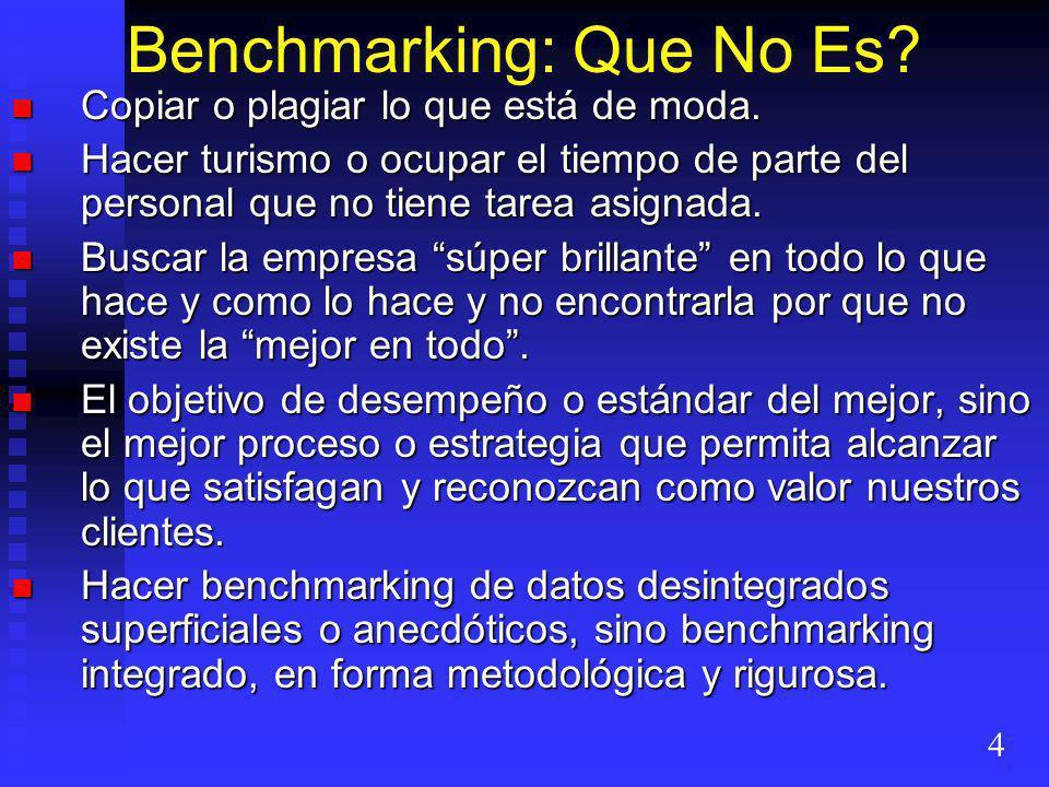 Benchmarking: Que No Es? Copiar o plagiar lo que está de moda. Copiar o plagiar lo que está de moda. Hacer turismo o ocupar el tiempo de parte del per