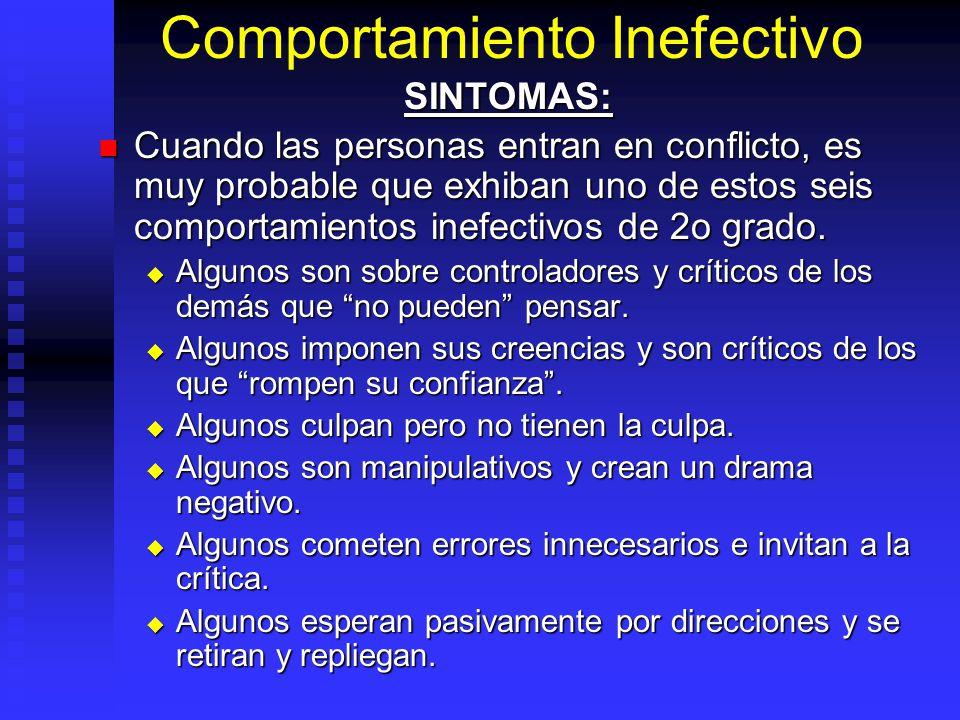 Comportamiento Inefectivo SINTOMAS: Cuando las personas entran en conflicto, es muy probable que exhiban uno de estos seis comportamientos inefectivos