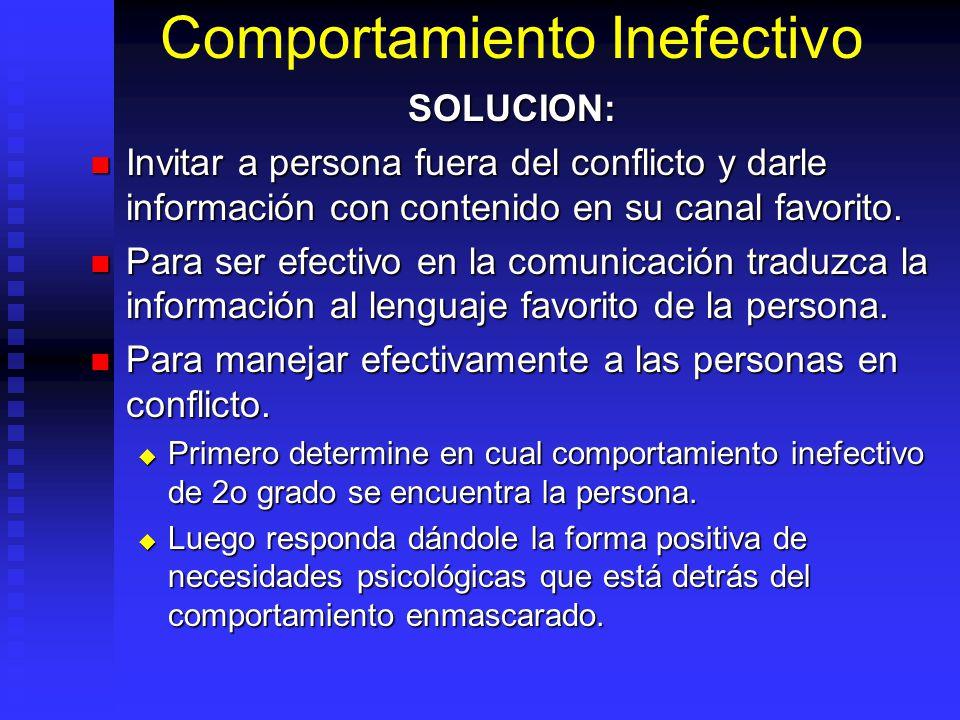 Comportamiento Inefectivo SOLUCION: Invitar a persona fuera del conflicto y darle información con contenido en su canal favorito. Invitar a persona fu