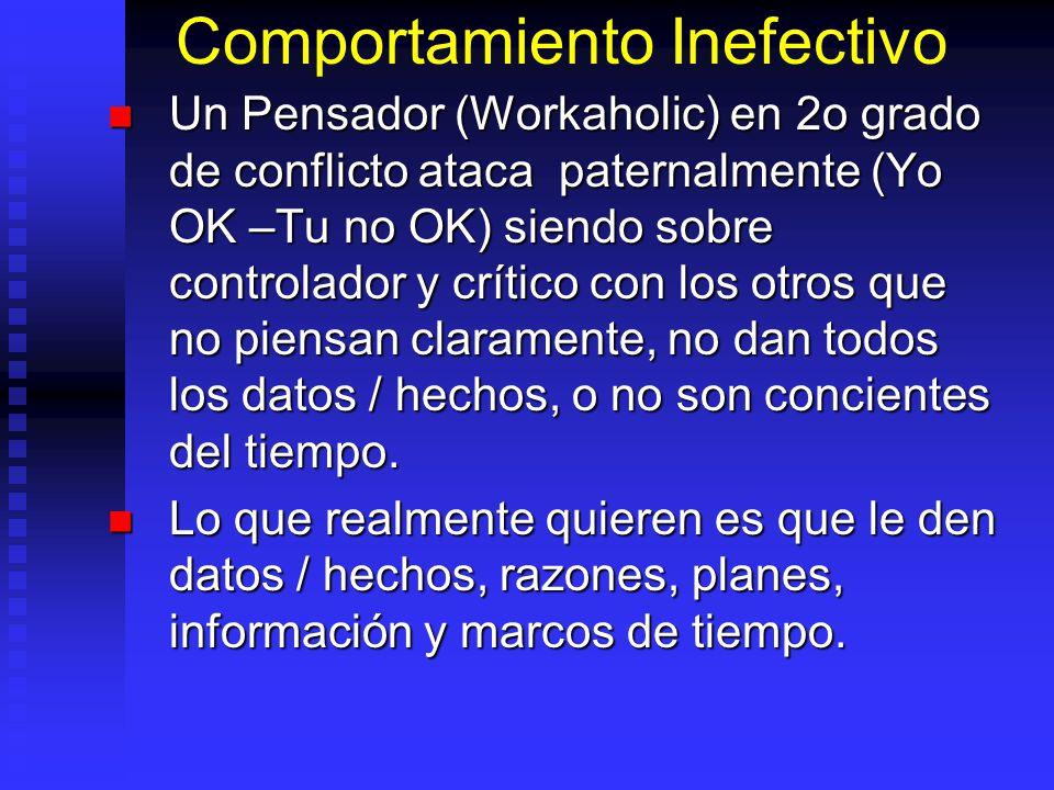 Comportamiento Inefectivo Un Pensador (Workaholic) en 2o grado de conflicto ataca paternalmente (Yo OK –Tu no OK) siendo sobre controlador y crítico c