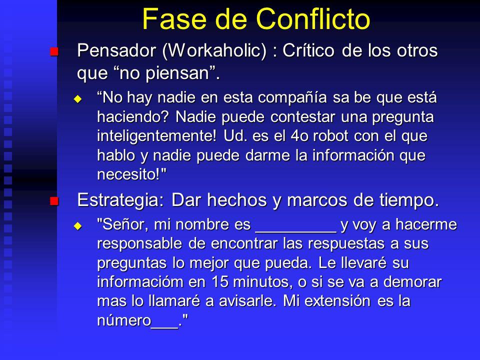 Fase de Conflicto Pensador (Workaholic) : Crítico de los otros que no piensan. Pensador (Workaholic) : Crítico de los otros que no piensan. No hay nad